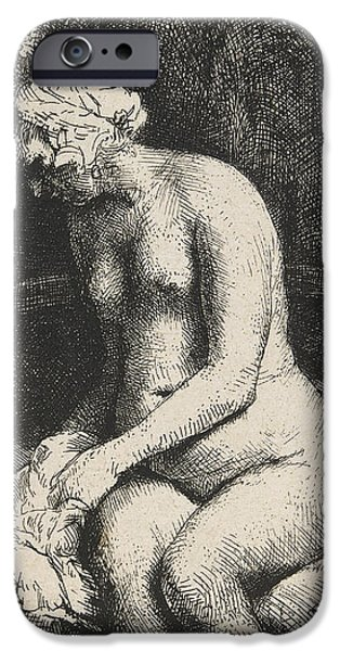 Bathing Drawings iPhone Cases - Woman Bathing Her Feet at a Brook iPhone Case by Rembrandt