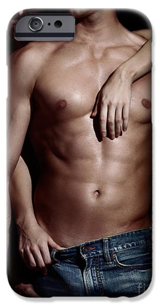 Woman behind sexy man with bare torso and jeans iPhone Case by Oleksiy Maksymenko