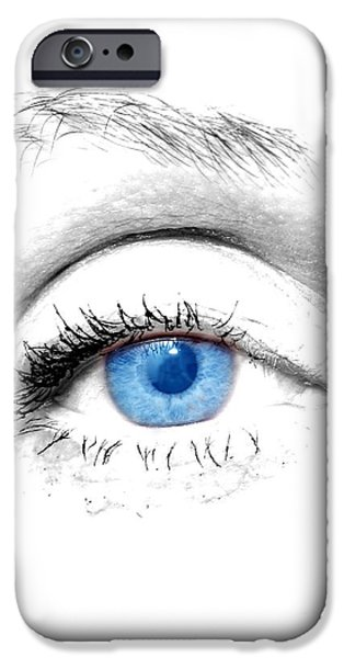 Youthful iPhone Cases - Woman blue eye iPhone Case by Michal Bednarek