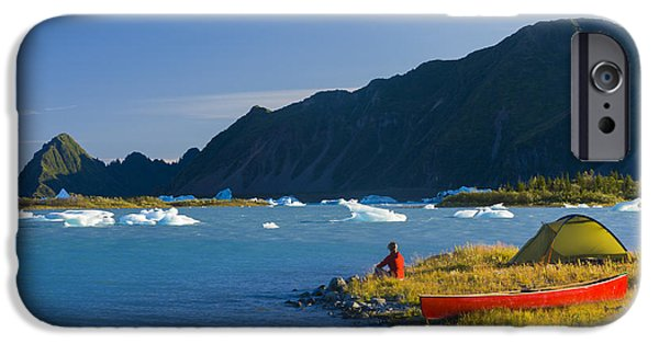 Thinking iPhone Cases - Woman Camping On An Island Via Canoe On iPhone Case by Michael DeYoung