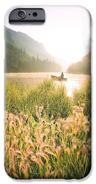 Matanuska iPhone Cases - Woman Canoeing On Long Lake In Early iPhone Case by Michael DeYoung