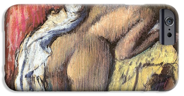 Impressionist Photographs iPhone Cases - Woman Drying Herself, C.1890-95 Pastel iPhone Case by Edgar Degas