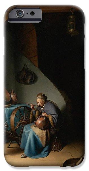 Porridge iPhone Cases - Woman Eating Porridge iPhone Case by Gerard Dou