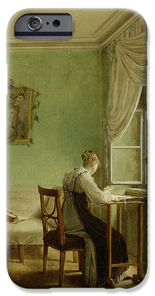 Pastimes iPhone Cases - Woman Embroidering, 1812 Oil On Canvas iPhone Case by Georg Friedrich Kersting