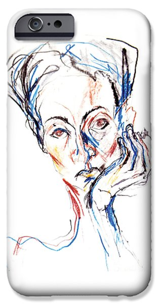 Crayons Drawings iPhone Cases - Woman expression iPhone Case by Marian Voicu