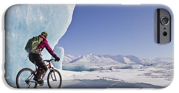 Fat Tire iPhone Cases - Woman Fat Tire Mountain Biking On Ice iPhone Case by Joe Stock
