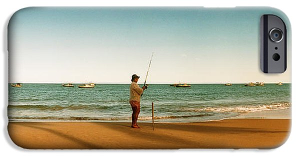 Women Only iPhone Cases - Woman Fishing On The Beach, Morro De iPhone Case by Panoramic Images