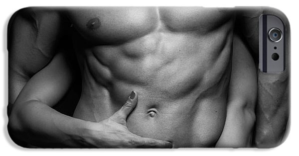 Handsome People iPhone Cases - Woman hands touching muscular mans body iPhone Case by Oleksiy Maksymenko