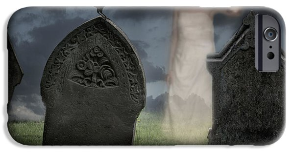 Night Lamp iPhone Cases - Woman Haunting Cemetery iPhone Case by Amanda And Christopher Elwell