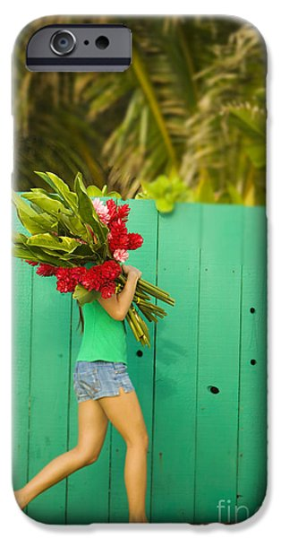 Simple Beauty In Colors iPhone Cases - Woman holding red and pink ginger flowers iPhone Case by Dana Edmunds