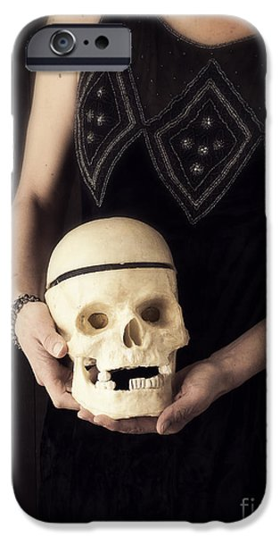 Strange iPhone Cases - Woman Holding Skull iPhone Case by Edward Fielding
