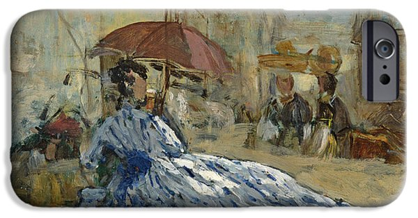 Woman In A Dress iPhone Cases - Woman in a blue dress under a parasol iPhone Case by Eugene Louis Boudin