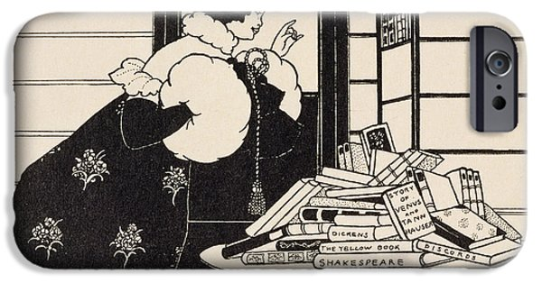 Pen And Ink Illustration iPhone Cases - Woman in a Bookshop iPhone Case by Aubrey Beardsley
