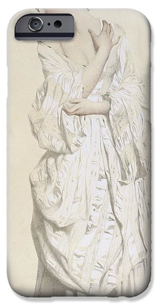 19th Century Drawings iPhone Cases - Woman in a Dressing Gown iPhone Case by French School