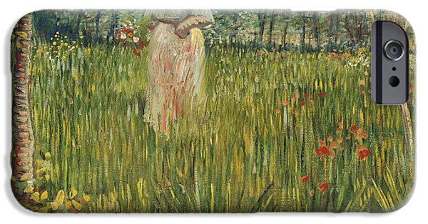 Woman In A Dress iPhone Cases - Woman in a Garden iPhone Case by Vincent van Gogh