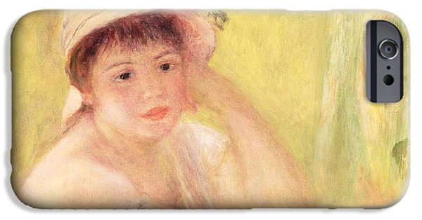 Young iPhone Cases - Woman In A Straw Hat, 1879 Oil On Canvas iPhone Case by Pierre Auguste Renoir