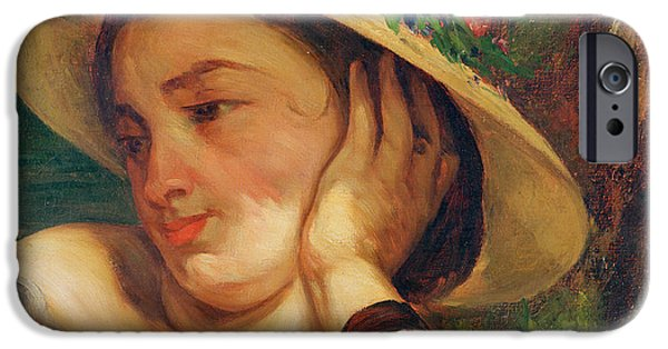 Portraits Female Paintings iPhone Cases - Woman in a Straw Hat with Flowers iPhone Case by Gustave Courbet