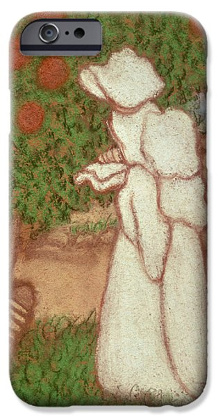 Eerie iPhone Cases - Woman In A White Dress, 1896 Pastel On Paper iPhone Case by Jozsef Rippl-Ronai