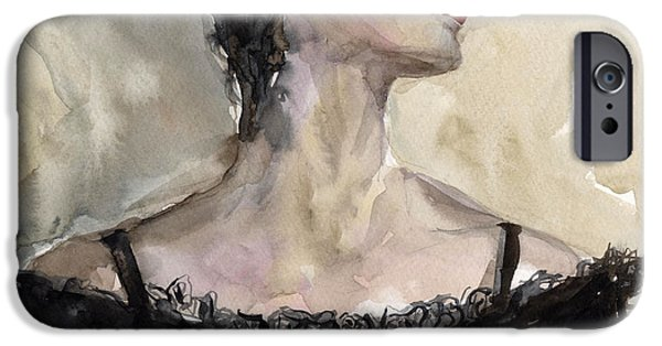 Watercolor Drawings iPhone Cases - Woman in black watercolor portrait iPhone Case by Svetlana Novikova