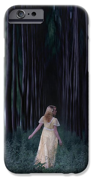 Escape iPhone Cases - Woman In Forest iPhone Case by Joana Kruse