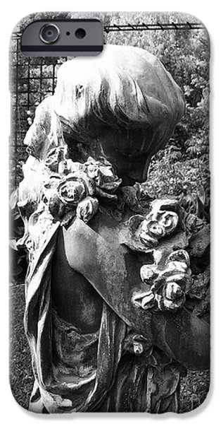 Usa Sculptures iPhone Cases - Woman In Garden With Roses iPhone Case by Nathan Little
