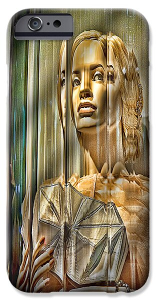 Staley Mixed Media iPhone Cases - Woman in Glass iPhone Case by Chuck Staley
