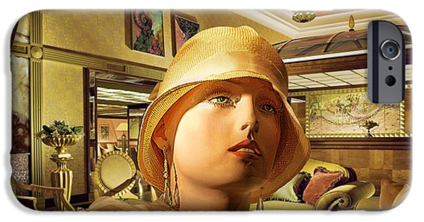Staley Mixed Media iPhone Cases - Woman in Lobby iPhone Case by Art Deco Designs