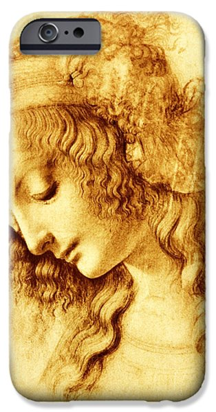 Baptism Paintings iPhone Cases - Woman in Profile iPhone Case by Leonardo Da Vinci