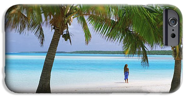 Getting Away From It All iPhone Cases - Woman In Sarong On The Beach, One Foot iPhone Case by Panoramic Images