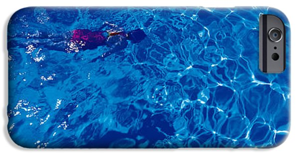 Solitary iPhone Cases - Woman In Swimming Pool iPhone Case by Panoramic Images