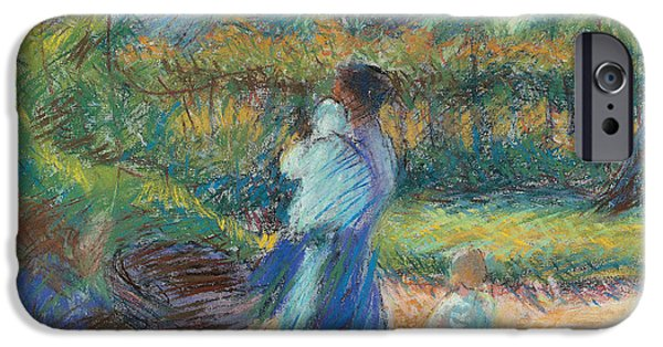 Plant Pastels iPhone Cases - Woman in the Garden iPhone Case by Umberto Boccioni