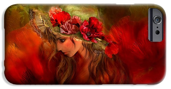 Hat Art iPhone Cases - Woman In The Poppy Hat iPhone Case by Carol Cavalaris