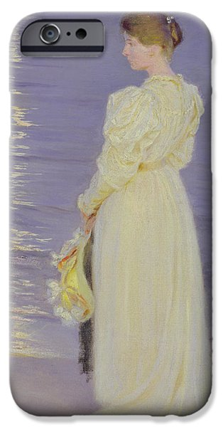 Impressionist Photographs iPhone Cases - Woman In White On A Beach, 1893 iPhone Case by Peder Severin Kroyer