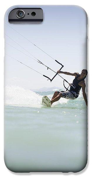 Luz iPhone Cases - Woman Kitesurfing In Costa De La Luz iPhone Case by Marcos Welsh