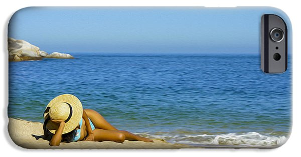 Pleasure Digital Art iPhone Cases - Woman lying on the beach iPhone Case by Aged Pixel