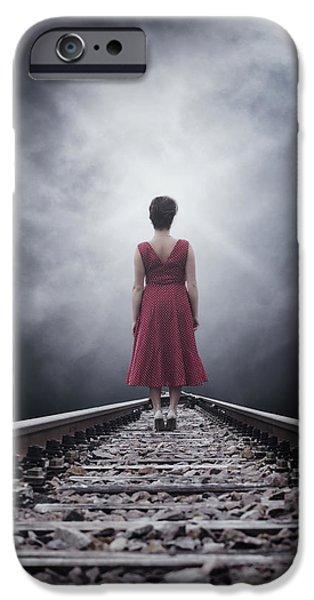 woman on tracks iPhone Case by Joana Kruse