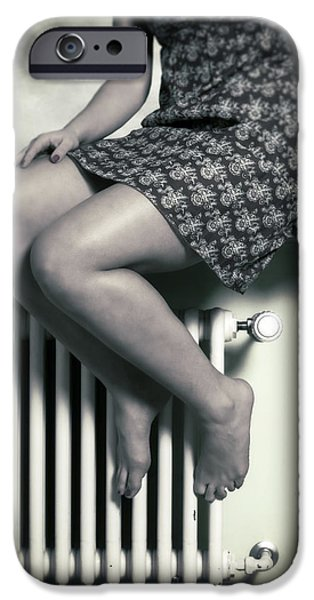 Ledge Photographs iPhone Cases - Woman On Window Sill iPhone Case by Joana Kruse