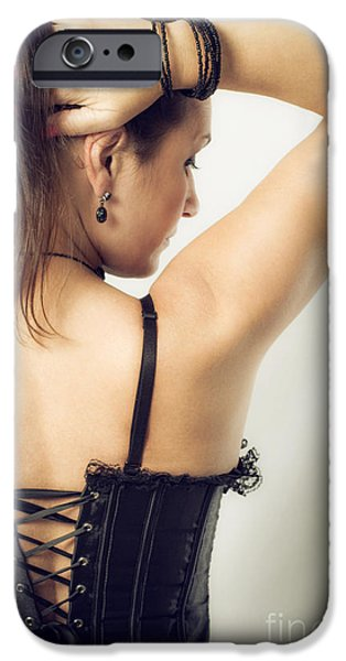Hairstyle iPhone Cases - Woman Portrait iPhone Case by Carlos Caetano