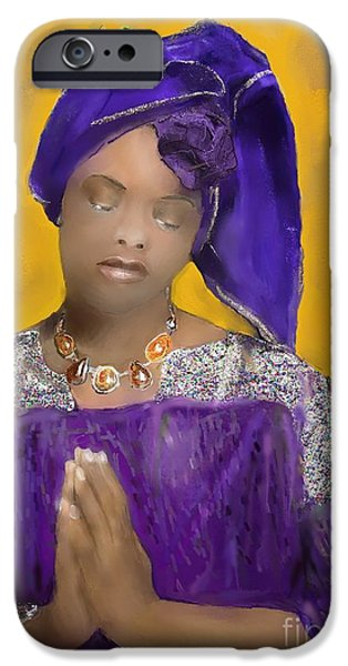 Recently Sold -  - Airbrush iPhone Cases - Woman Praying iPhone Case by Vannetta Ferguson