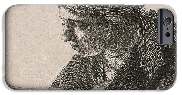 Decor Drawings iPhone Cases - Woman Reading iPhone Case by Rembrandt