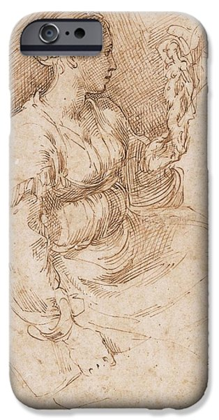 Nike Photographs iPhone Cases - Woman Seated Holding A Statuette Of Victory, C.1524 Pen & Ink On Paper iPhone Case by Parmigianino