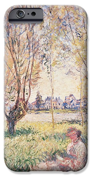 Willow iPhone Cases - Woman seated under the Willows iPhone Case by Claude Monet