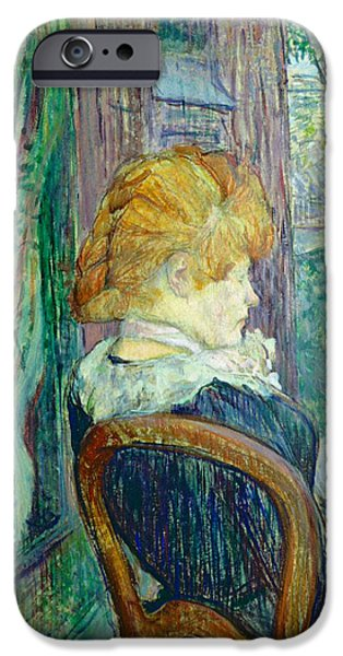 Sit-ins Paintings iPhone Cases - Woman sitting in a garden iPhone Case by Henri de Toulouse-lautrec