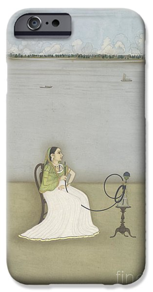 Hookah iPhone Cases - Woman Smoking A Hookah iPhone Case by British Library
