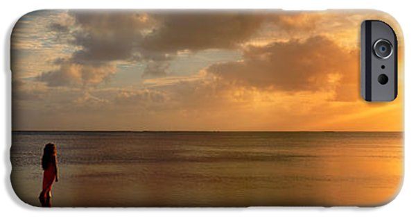Getting Away From It All iPhone Cases - Woman Standing On Sandbar Looking iPhone Case by Panoramic Images