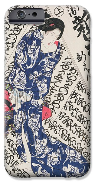 Robe Drawings iPhone Cases - Woman Surrounded By Calligraphy iPhone Case by Utagawa Kunisada