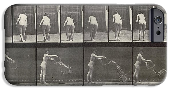 Posters Of Women iPhone Cases - Woman throwing a bucket of water iPhone Case by Eadweard Muybridge