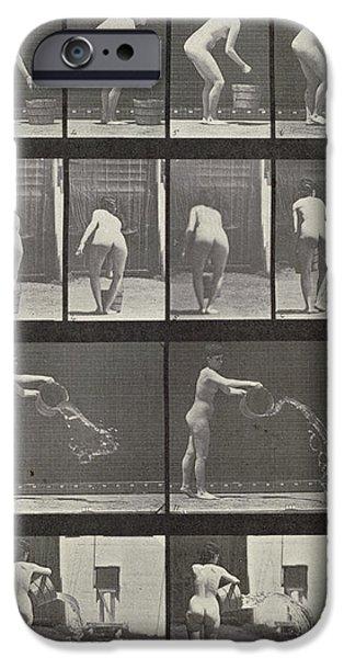 Woman throwing a bucket of water iPhone Case by Eadweard Muybridge