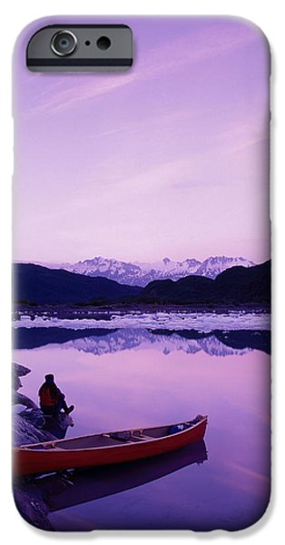 Prince William iPhone Cases - Woman Viewing Lake Next To Canoe Shoup iPhone Case by Michael DeYoung
