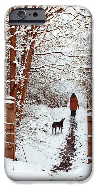 Snowy iPhone Cases - Woman Walking Dog iPhone Case by Amanda And Christopher Elwell